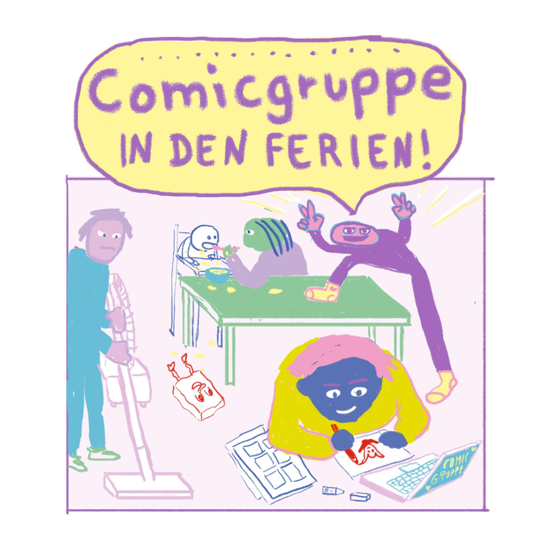 Comicgruppe in den Ferien